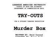 TRY-OUTS  for LAU Students Theater Production - Directed by Tanya Saab