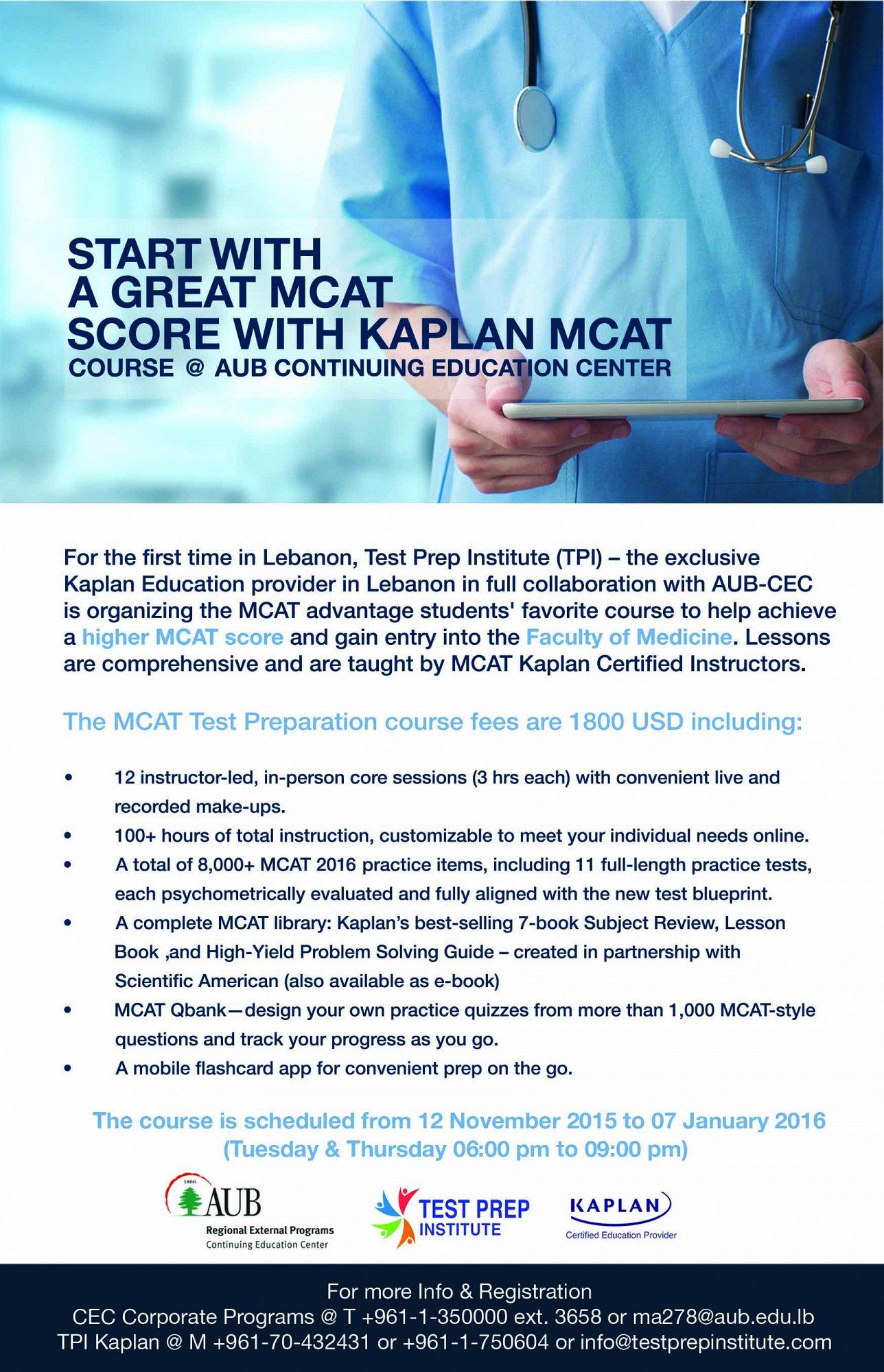MCAT® Kaplan course @ AUB CEC « Lebtivity