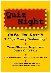 Quiz Night at Cafe Em Nazih every Wednesday