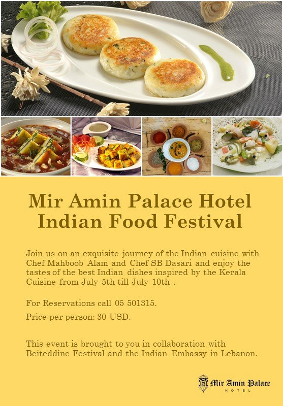 Indian food festival mir amin palace hotel lebtivity for Amin indian cuisine