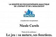 LE JEU: sa nature, ses fonctions - Conference par Nicole Carels