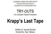 TRY OUTS - Krapp's Last Tape directed by Nay Tabbara