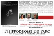 Signature du livre L'Hippodrome du Parc, un siècle dans l'histoire du Liban