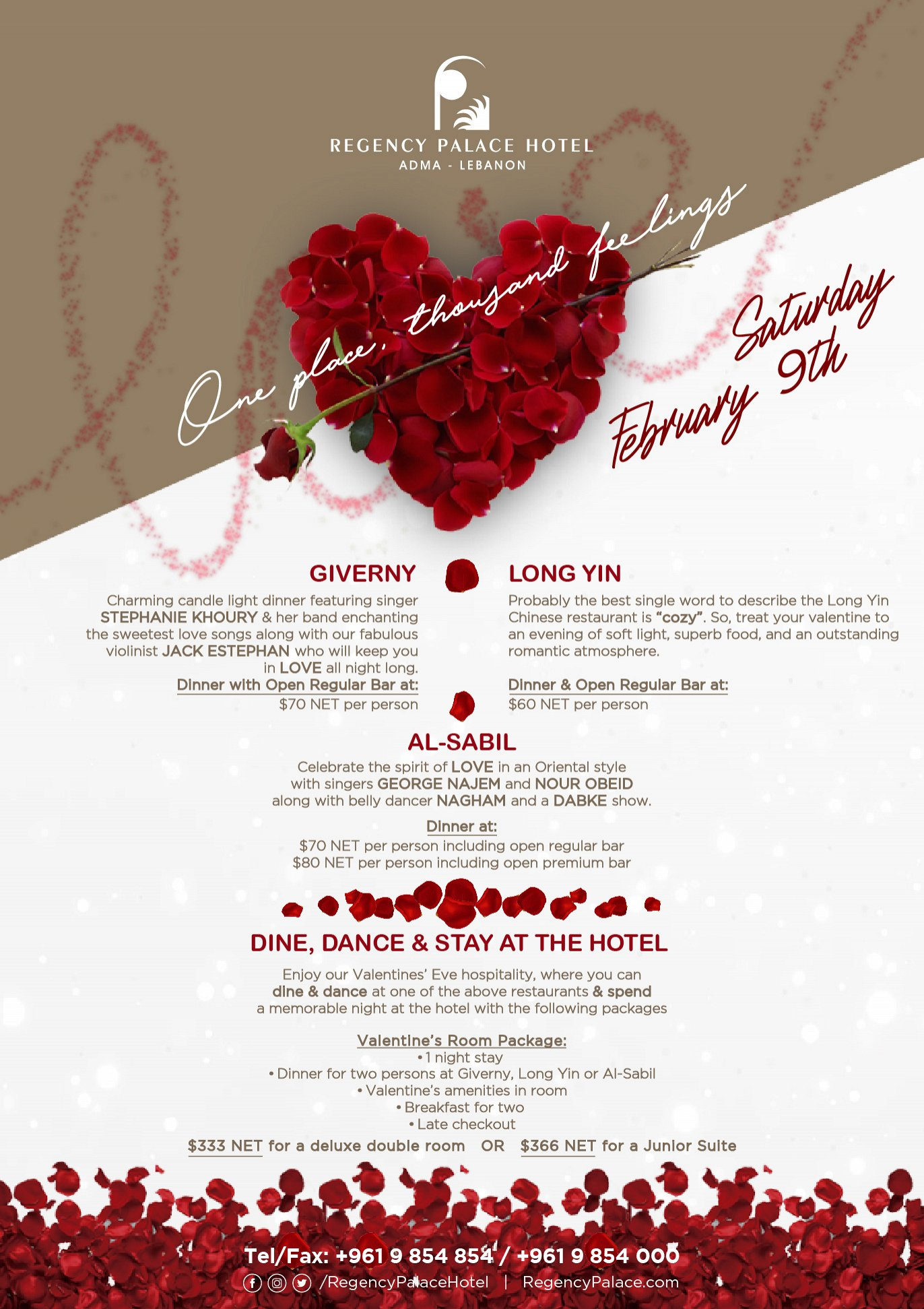 Valentine's Offers at Regency Palace Hotel « Lebtivity