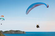 Paragliding Tandem Flight with Purple Pineapple Pot